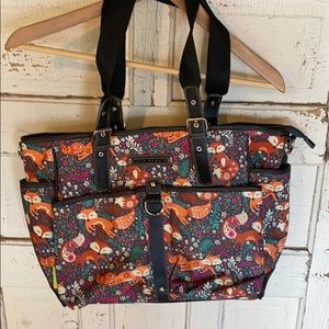 EUC Lily Bloom Fox Large Tote Bag w foxes